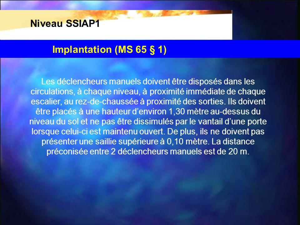 Niveau SSIAP1 Les déclencheurs manuels doivent être disposés dans les circulations, à chaque niveau, à proximité immédiate de chaque escalier, au rez-de-chaussée à proximité des sorties.