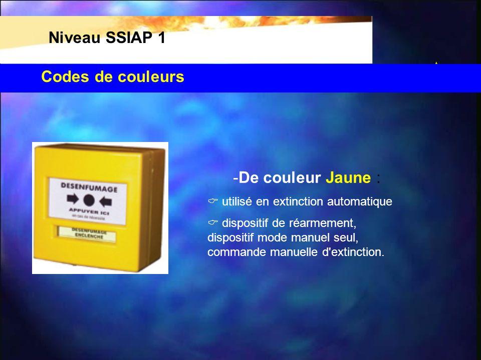 Codes de couleurs Niveau SSIAP 1 -De couleur Jaune : utilisé en extinction automatique dispositif de réarmement, dispositif mode manuel seul, commande