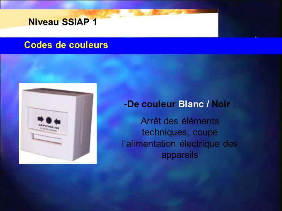 Codes de couleurs Niveau SSIAP 1 De couleur Bleu : c est un arrêt d urgence (double action)