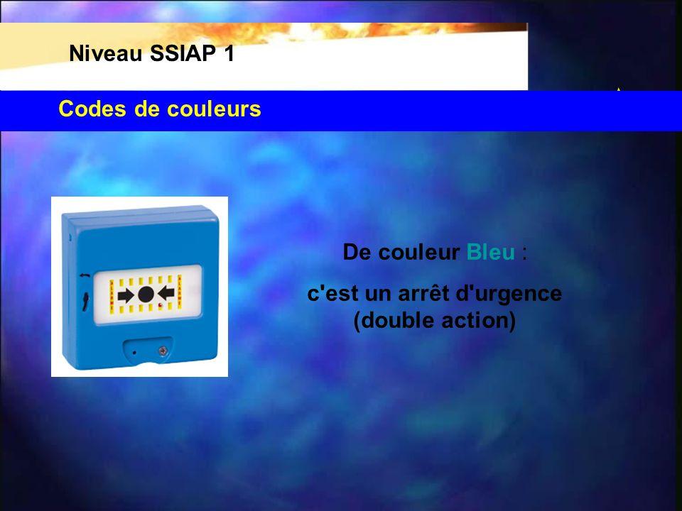Codes de couleurs Niveau SSIAP 1 De couleur Bleu : c'est un arrêt d'urgence (double action)