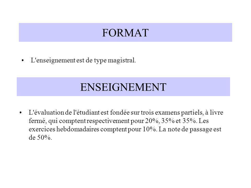 FORMAT L'enseignement est de type magistral. ENSEIGNEMENT L'évaluation de l'étudiant est fondée sur trois examens partiels, à livre fermé, qui compten