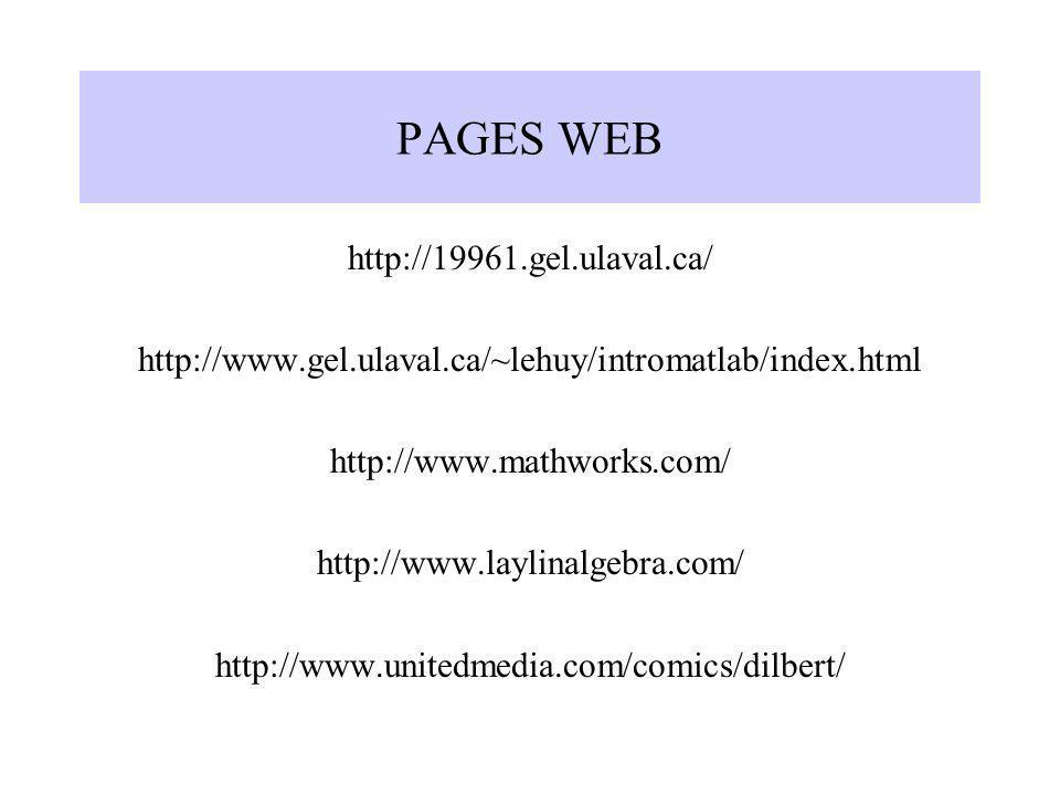 PAGES WEB http://19961.gel.ulaval.ca/ http://www.gel.ulaval.ca/~lehuy/intromatlab/index.html http://www.mathworks.com/ http://www.laylinalgebra.com/ h