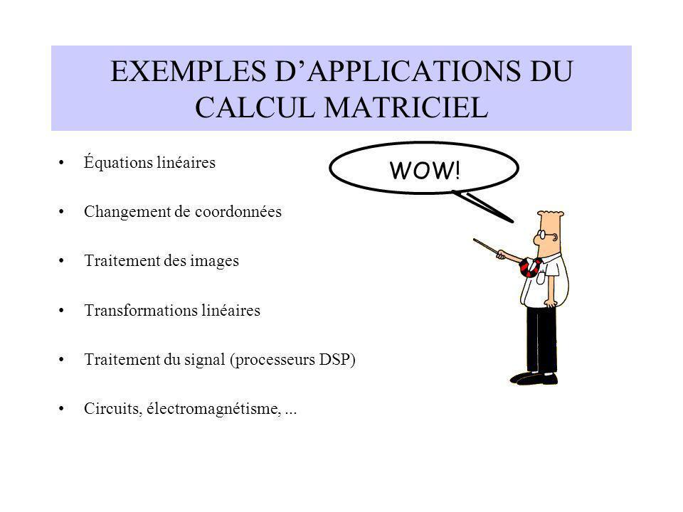 EXEMPLES DAPPLICATIONS DU CALCUL MATRICIEL Équations linéaires Changement de coordonnées Traitement des images Transformations linéaires Traitement du