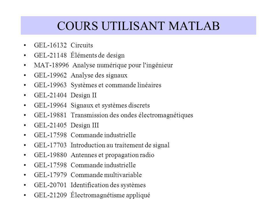 COURS UTILISANT MATLAB GEL-16132 Circuits GEL-21148 Éléments de design MAT-18996 Analyse numérique pour l'ingénieur GEL-19962 Analyse des signaux GEL-