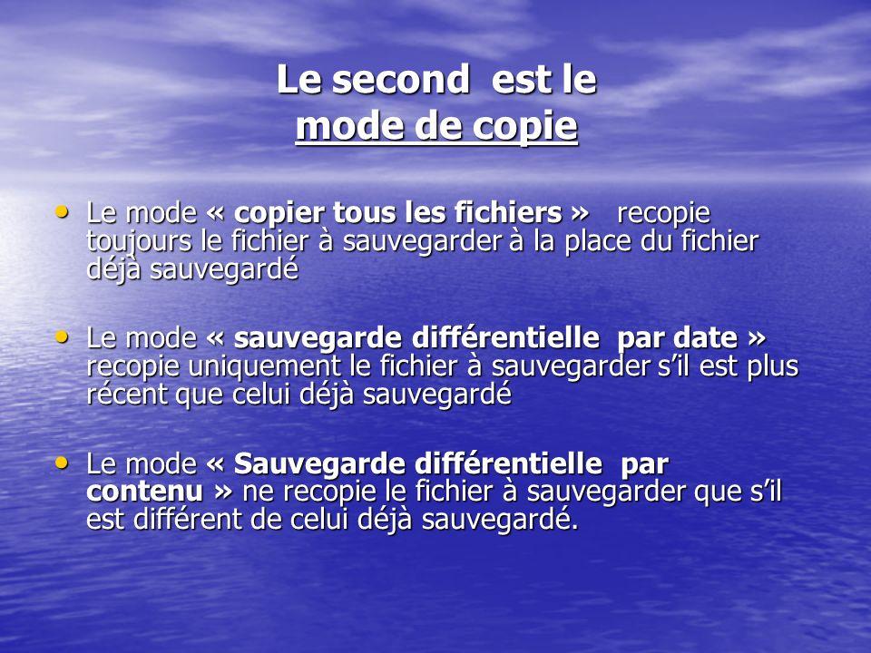 Le second est le mode de copie Le mode « copier tous les fichiers » recopie toujours le fichier à sauvegarder à la place du fichier déjà sauvegardé Le mode « copier tous les fichiers » recopie toujours le fichier à sauvegarder à la place du fichier déjà sauvegardé Le mode « sauvegarde différentielle par date » recopie uniquement le fichier à sauvegarder sil est plus récent que celui déjà sauvegardé Le mode « sauvegarde différentielle par date » recopie uniquement le fichier à sauvegarder sil est plus récent que celui déjà sauvegardé Le mode « Sauvegarde différentielle par contenu » ne recopie le fichier à sauvegarder que sil est différent de celui déjà sauvegardé.
