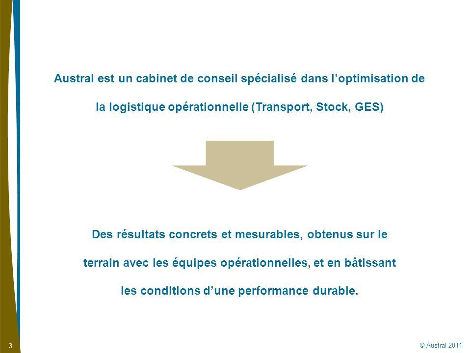 © Austral 2011 3 Austral est un cabinet de conseil spécialisé dans loptimisation de la logistique opérationnelle (Transport, Stock, GES) Des résultats