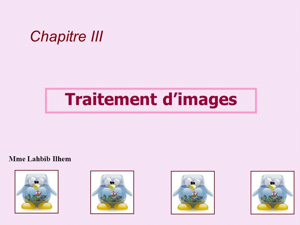 Chapitre III Traitement dimages Mme Lahbib Ilhem