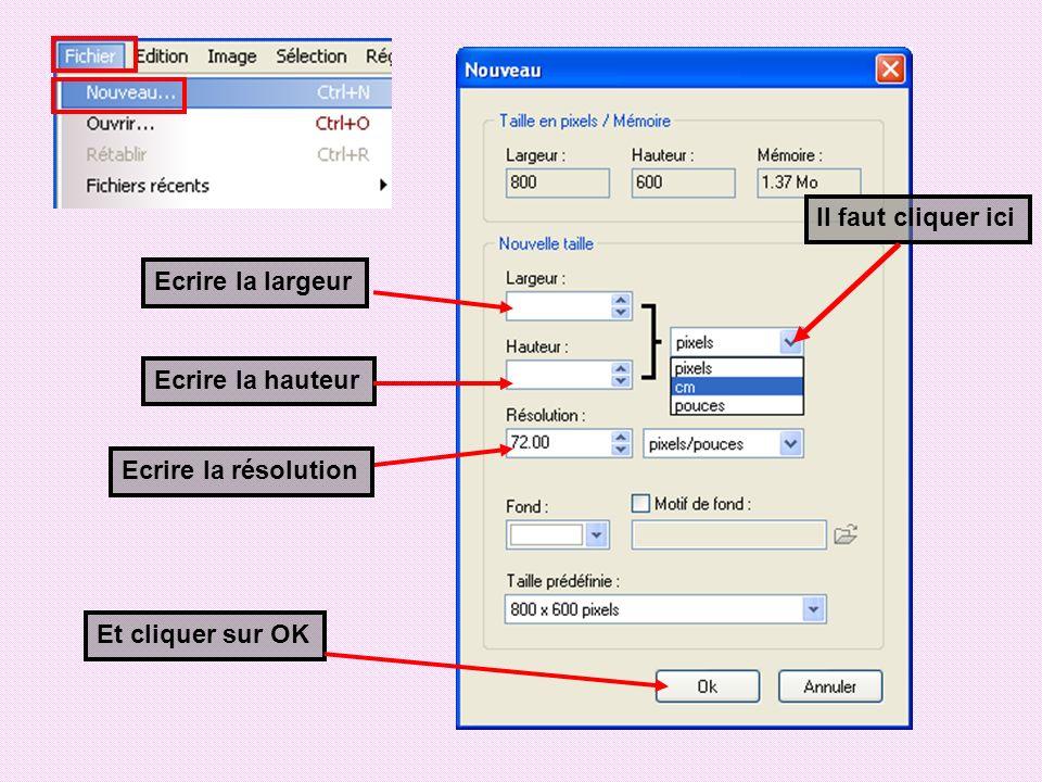 Il faut cliquer ici Ecrire la largeur Ecrire la hauteur Ecrire la résolution Et cliquer sur OK