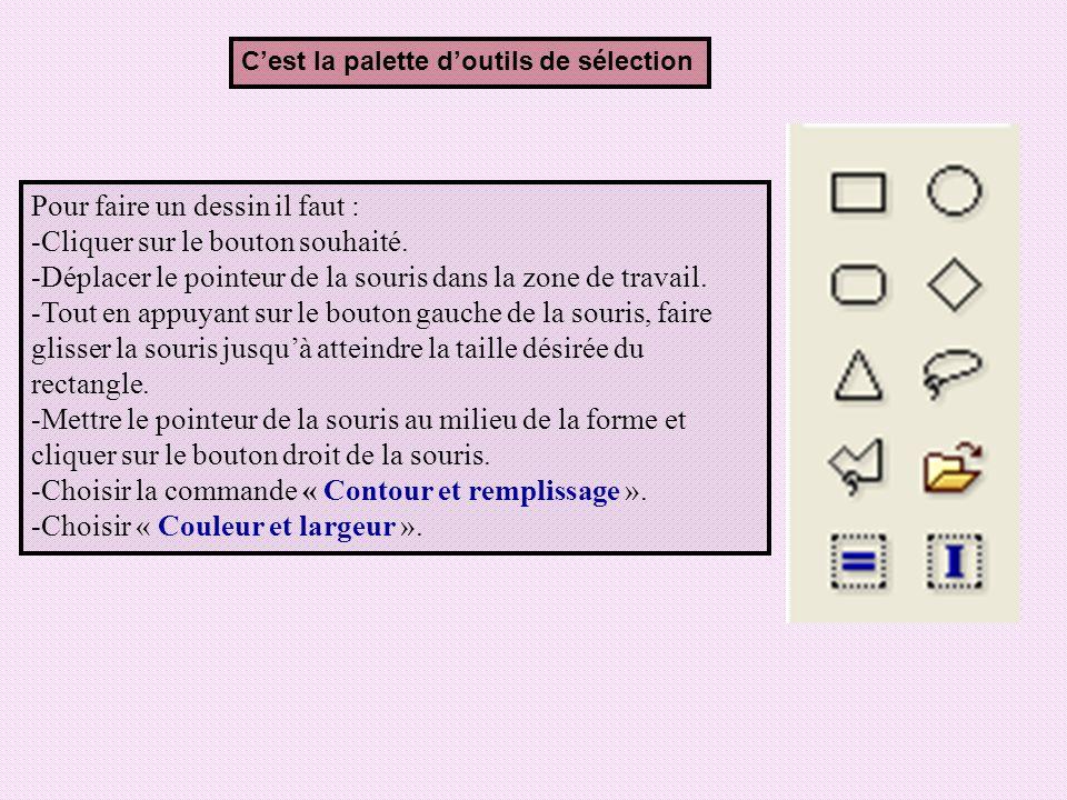 Cest la palette doutils de sélection Pour faire un dessin il faut : -Cliquer sur le bouton souhaité. -Déplacer le pointeur de la souris dans la zone d