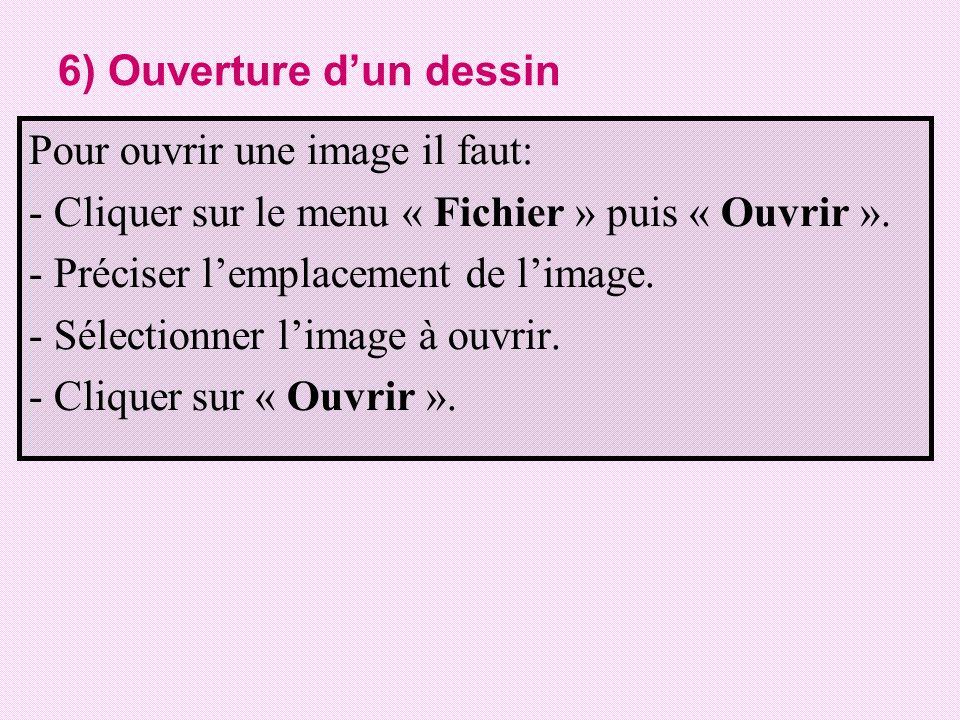 6) Ouverture dun dessin Pour ouvrir une image il faut: - Cliquer sur le menu « Fichier » puis « Ouvrir ». - Préciser lemplacement de limage. - Sélecti