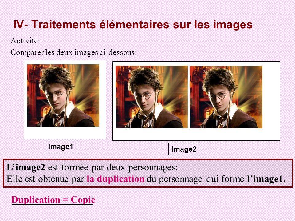 IV- Traitements élémentaires sur les images Activité: Comparer les deux images ci-dessous: Image1 Image2 Limage2 est formée par deux personnages: Elle