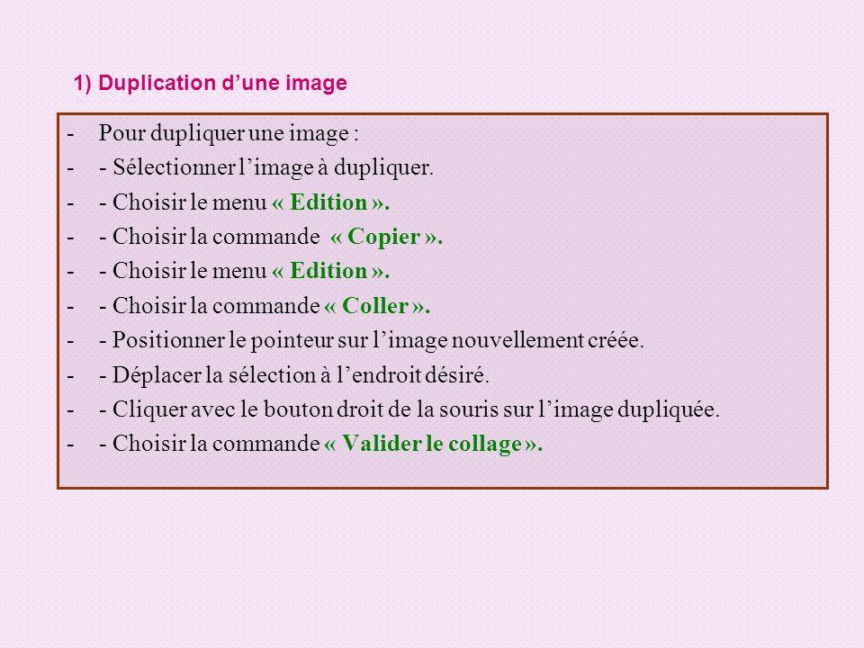 -Pour dupliquer une image : -- Sélectionner limage à dupliquer. -- Choisir le menu « Edition ». -- Choisir la commande « Copier ». -- Choisir le menu