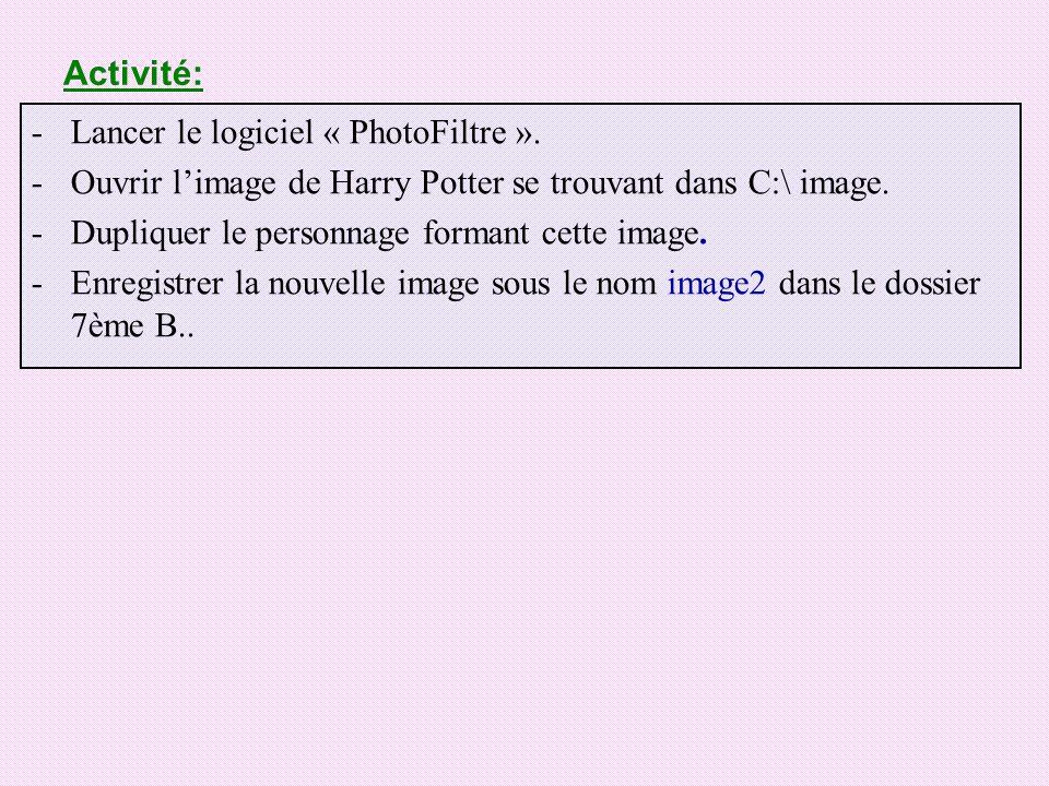 Activité: -Lancer le logiciel « PhotoFiltre ». -Ouvrir limage de Harry Potter se trouvant dans C:\ image. -Dupliquer le personnage formant cette image
