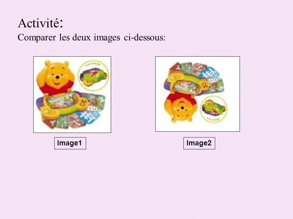 Activité : Comparer les deux images ci-dessous: Image1Image2