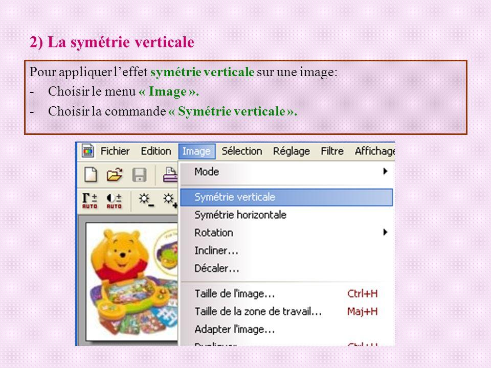 2) La symétrie verticale Pour appliquer leffet symétrie verticale sur une image: -Choisir le menu « Image ». -Choisir la commande « Symétrie verticale