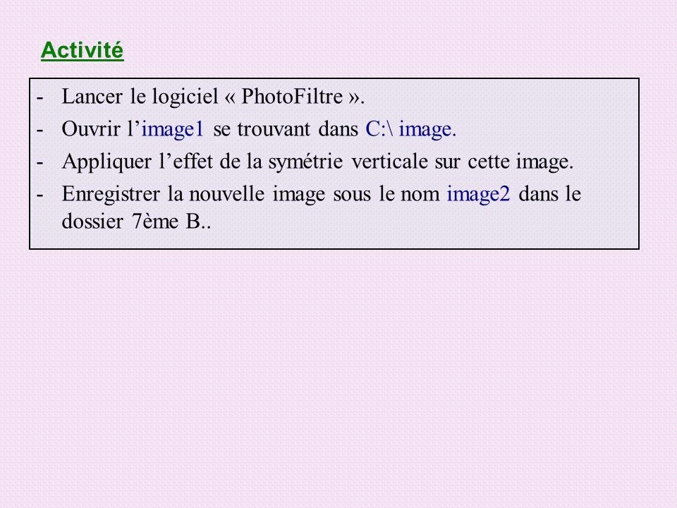 Activité -Lancer le logiciel « PhotoFiltre ». -Ouvrir limage1 se trouvant dans C:\ image. -Appliquer leffet de la symétrie verticale sur cette image.