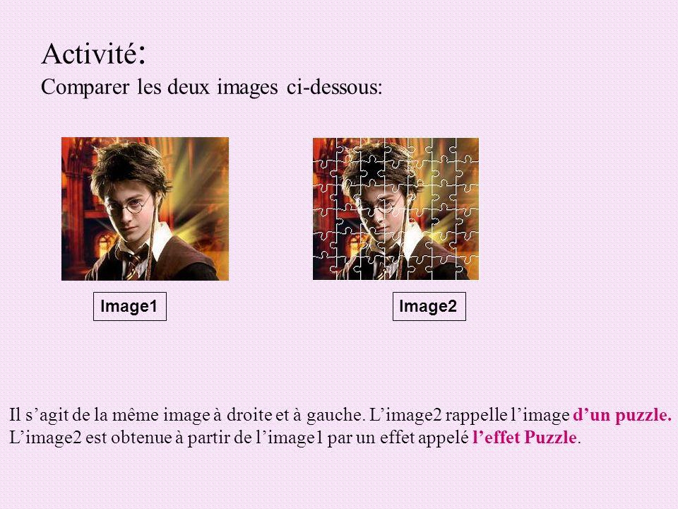 Activité : Comparer les deux images ci-dessous: Image1Image2 Il sagit de la même image à droite et à gauche. Limage2 rappelle limage dun puzzle. Limag