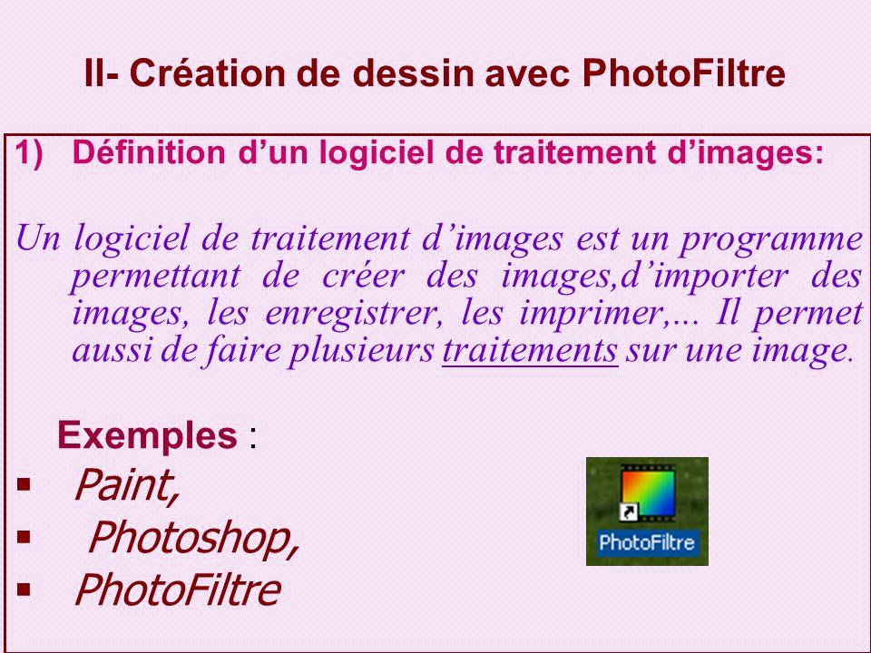 II- Création de dessin avec PhotoFiltre 1)Définition dun logiciel de traitement dimages: Un logiciel de traitement dimages est un programme permettant