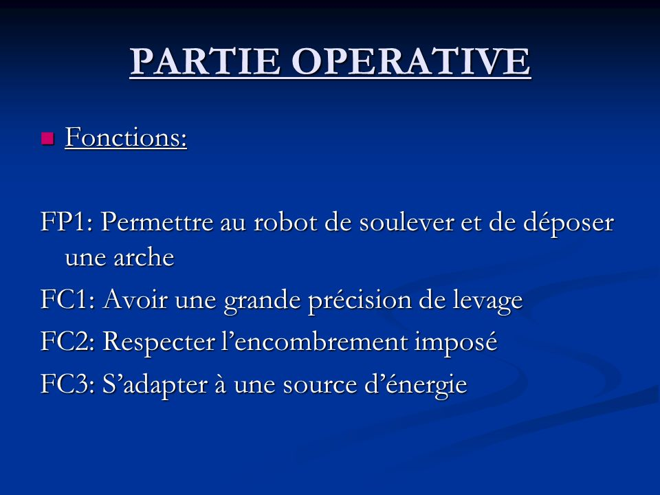 PARTIE OPERATIVE Fonctions: Fonctions: FP1: Permettre au robot de soulever et de déposer une arche FC1: Avoir une grande précision de levage FC2: Respecter lencombrement imposé FC3: Sadapter à une source dénergie