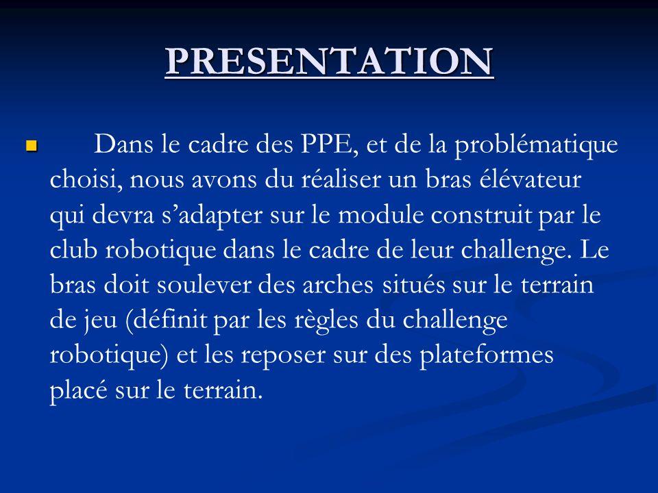 PRESENTATION Dans le cadre des PPE, et de la problématique choisi, nous avons du réaliser un bras élévateur qui devra sadapter sur le module construit par le club robotique dans le cadre de leur challenge.