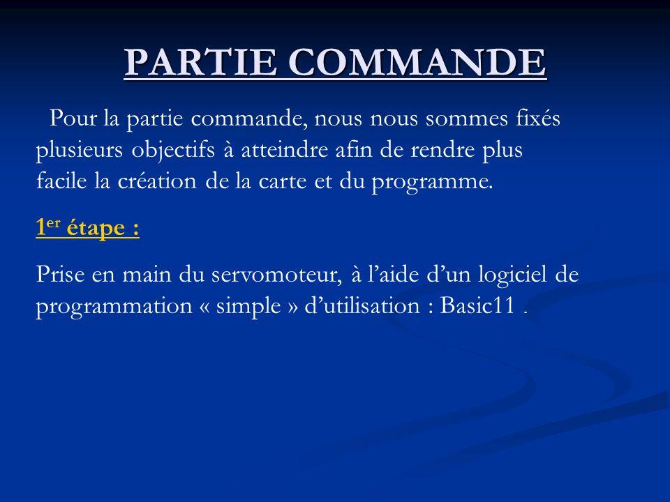 PARTIE COMMANDE Pour la partie commande, nous nous sommes fixés plusieurs objectifs à atteindre afin de rendre plus facile la création de la carte et du programme.