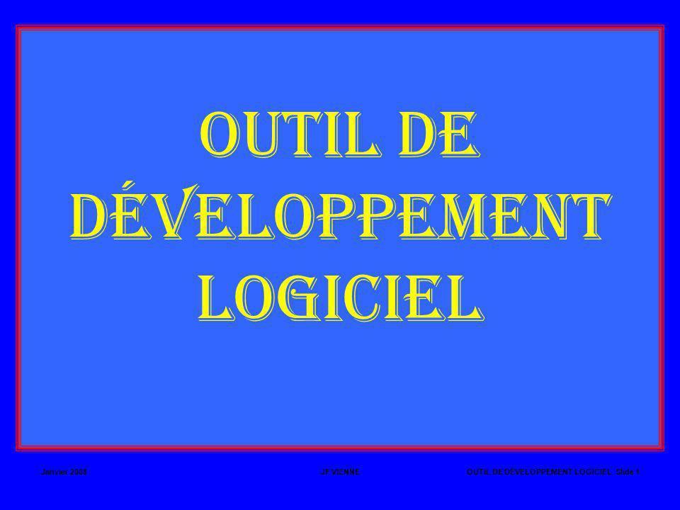 Janvier 2008JF VIENNEOUTIL DE DÉVELOPPEMENT LOGICIEL Slide 22 LA PROGRAMMATION MODULAIRE (SUITE) ppal.src ppal.obj assemble ppal.src L ÉDITEUR DE LIENS ppal.lst fonc.lst assemble fonc.src fonc.obj fonc.src link ppal.obj fonc.obj to p.lnk p.lnk ERREUR AU LINK => FONC : REFERENCE EXTERNE NON RÉSOLUE