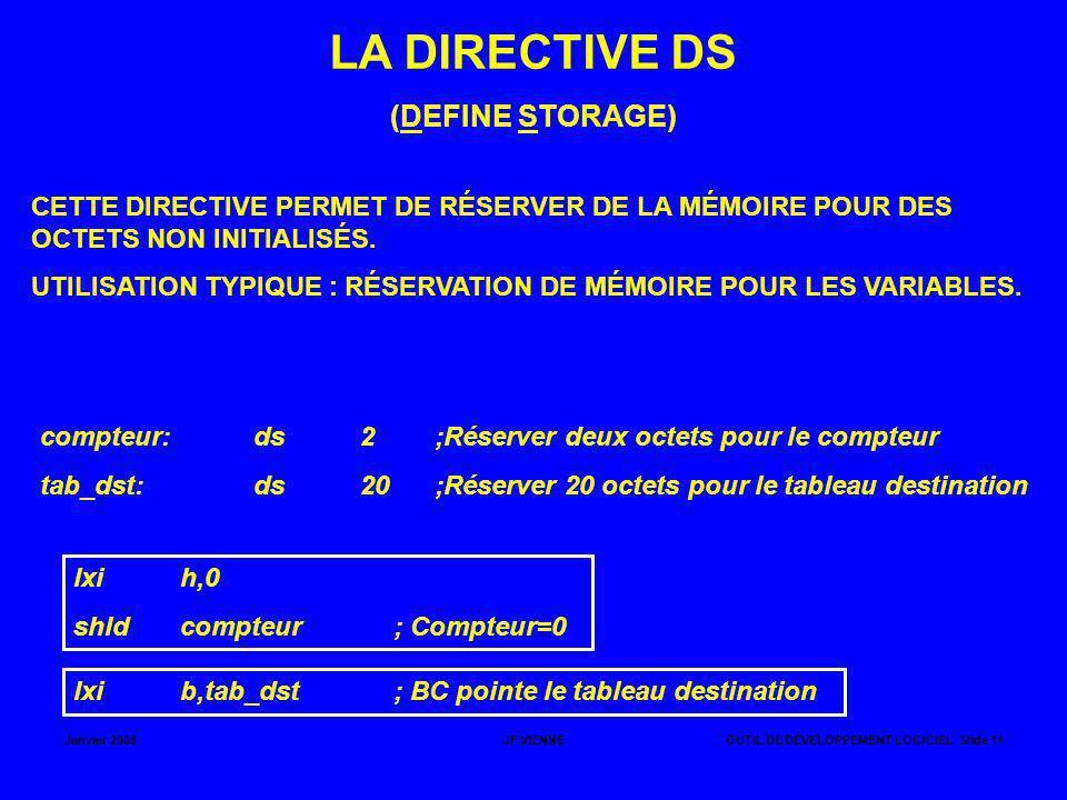 Janvier 2008JF VIENNEOUTIL DE DÉVELOPPEMENT LOGICIEL Slide 11 LA DIRECTIVE DS (DEFINE STORAGE) CETTE DIRECTIVE PERMET DE RÉSERVER DE LA MÉMOIRE POUR D