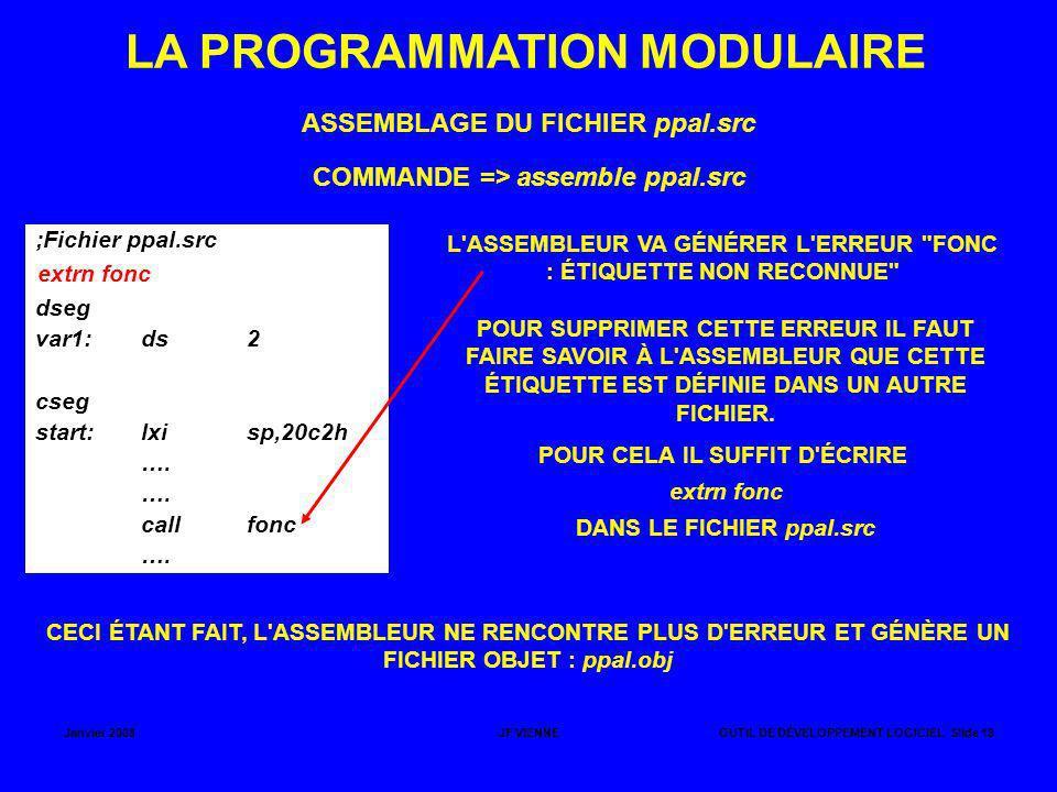Janvier 2008JF VIENNEOUTIL DE DÉVELOPPEMENT LOGICIEL Slide 19 LA PROGRAMMATION MODULAIRE ASSEMBLAGE DU FICHIER ppal.src ;Fichier ppal.src dseg var1:ds