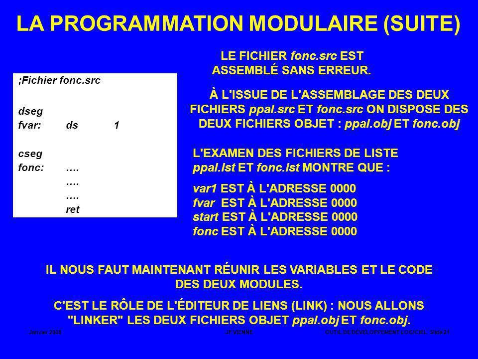 Janvier 2008JF VIENNEOUTIL DE DÉVELOPPEMENT LOGICIEL Slide 21 LA PROGRAMMATION MODULAIRE (SUITE) ;Fichier fonc.src dseg fvar:ds1 cseg fonc:…. …. ret L