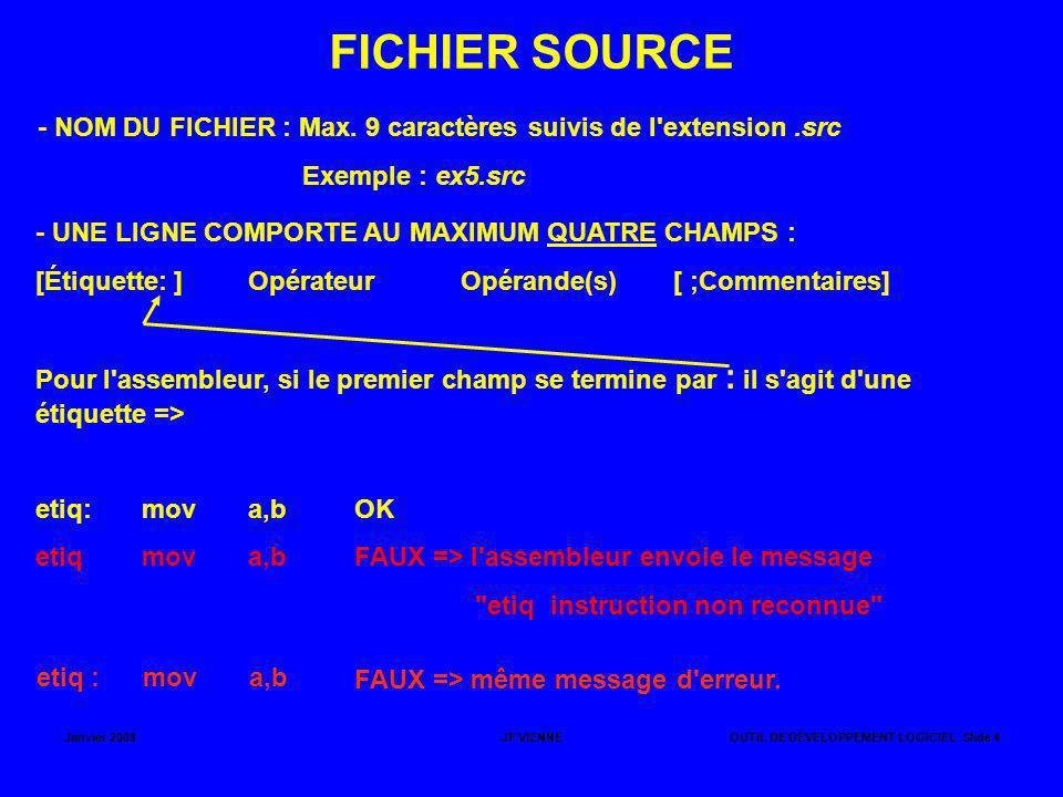 Janvier 2008JF VIENNEOUTIL DE DÉVELOPPEMENT LOGICIEL Slide 4 FICHIER SOURCE - NOM DU FICHIER : Max. 9 caractères suivis de l'extension.src Exemple : e
