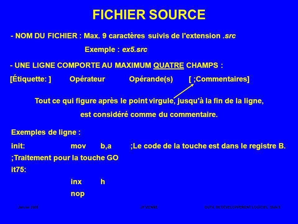 Janvier 2008JF VIENNEOUTIL DE DÉVELOPPEMENT LOGICIEL Slide 5 FICHIER SOURCE - NOM DU FICHIER : Max. 9 caractères suivis de l'extension.src Exemple : e