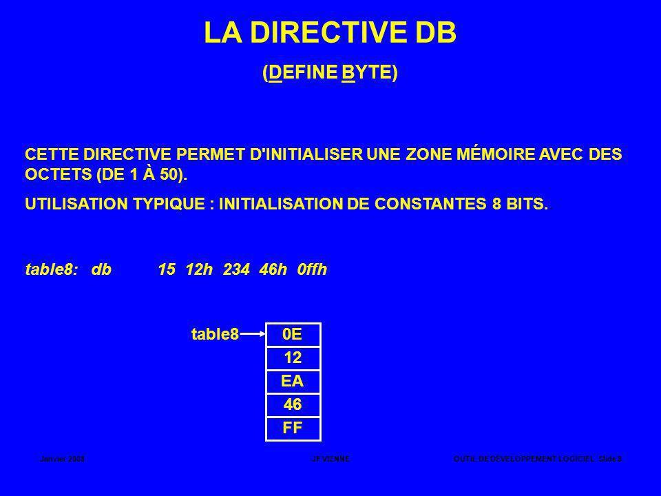 Janvier 2008JF VIENNEOUTIL DE DÉVELOPPEMENT LOGICIEL Slide 9 LA DIRECTIVE DB (DEFINE BYTE) CETTE DIRECTIVE PERMET D'INITIALISER UNE ZONE MÉMOIRE AVEC
