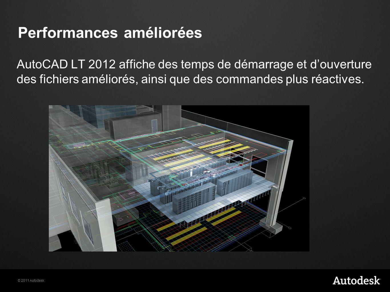 © 2011 Autodesk Performances améliorées AutoCAD LT 2012 affiche des temps de démarrage et douverture des fichiers améliorés, ainsi que des commandes plus réactives.