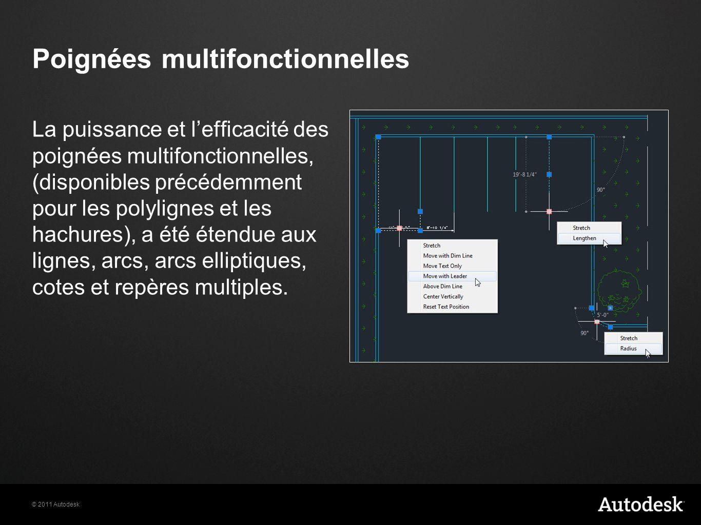 © 2011 Autodesk Poignées multifonctionnelles La puissance et lefficacité des poignées multifonctionnelles, (disponibles précédemment pour les polylign