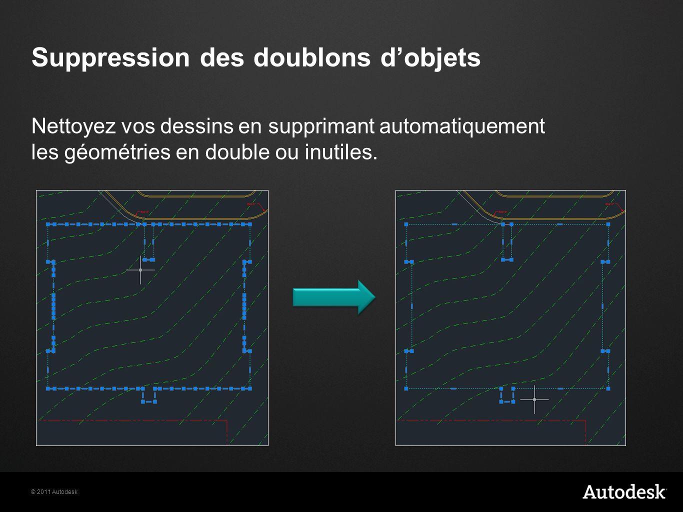© 2011 Autodesk Suppression des doublons dobjets Nettoyez vos dessins en supprimant automatiquement les géométries en double ou inutiles.