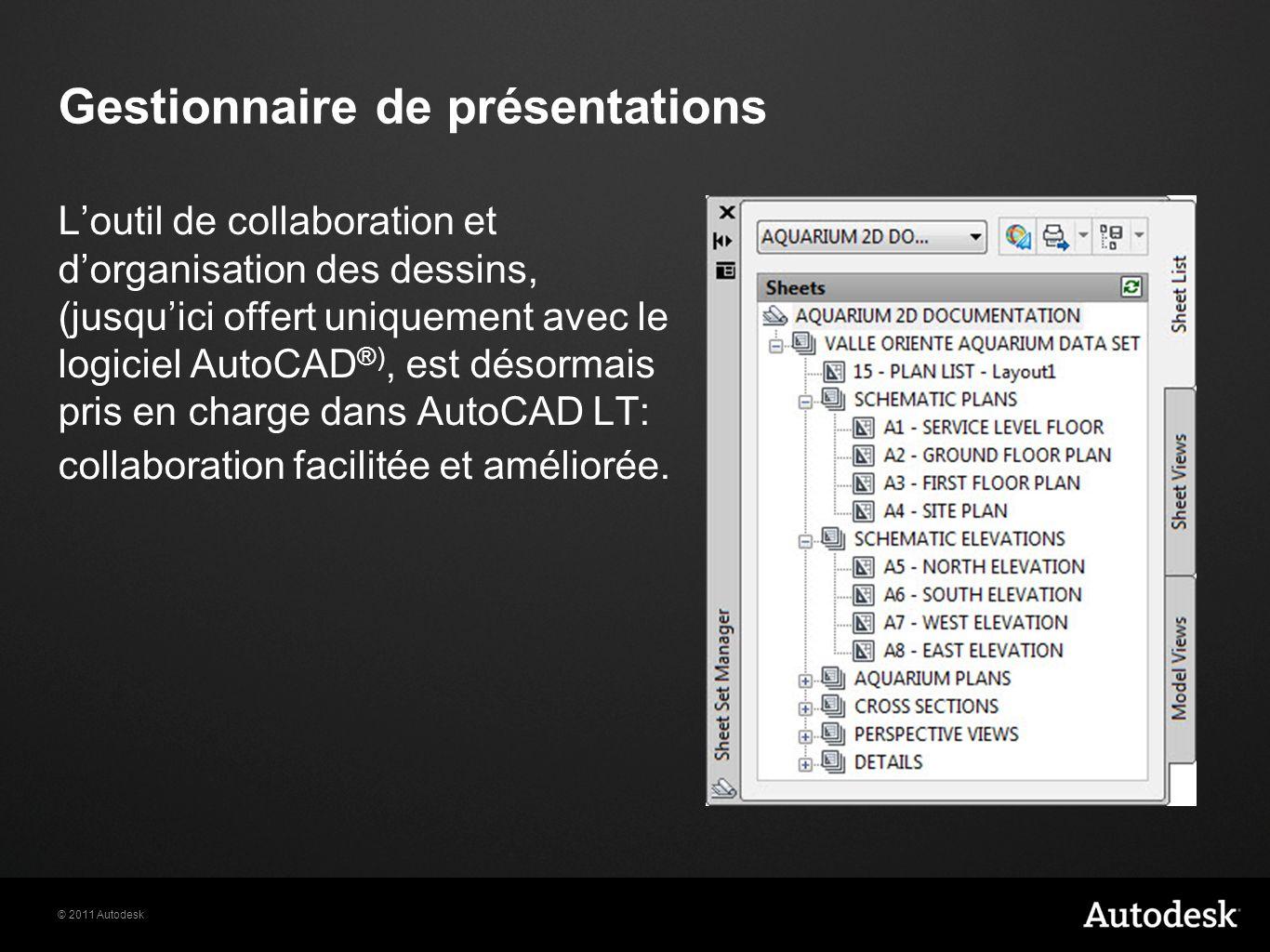 © 2011 Autodesk Gestionnaire de présentations Loutil de collaboration et dorganisation des dessins, (jusquici offert uniquement avec le logiciel AutoCAD ®), est désormais pris en charge dans AutoCAD LT: collaboration facilitée et améliorée.