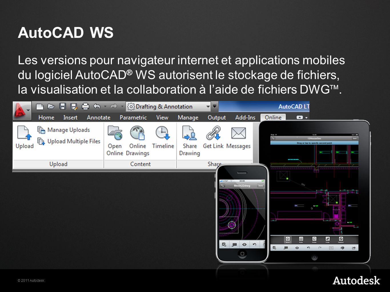 © 2011 Autodesk AutoCAD WS Les versions pour navigateur internet et applications mobiles du logiciel AutoCAD ® WS autorisent le stockage de fichiers, la visualisation et la collaboration à laide de fichiers DWG TM.
