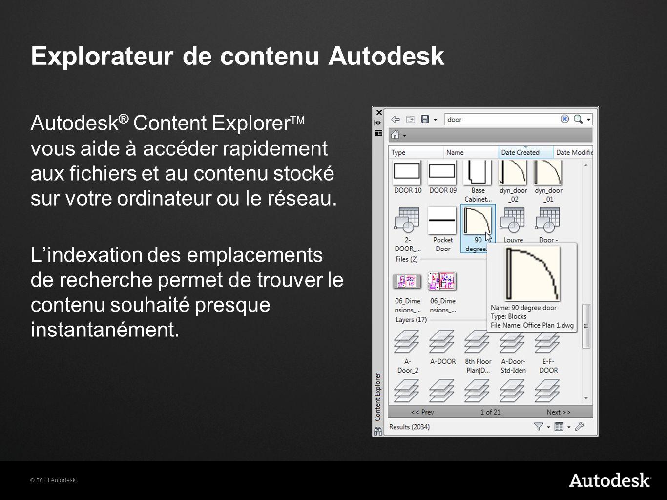 © 2011 Autodesk Explorateur de contenu Autodesk Autodesk ® Content Explorer TM vous aide à accéder rapidement aux fichiers et au contenu stocké sur votre ordinateur ou le réseau.
