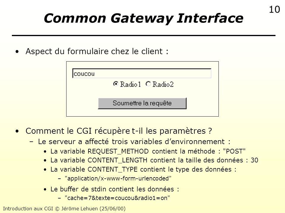 Introduction aux CGI © Jérôme Lehuen (25/06/00) 10 Common Gateway Interface Aspect du formulaire chez le client : Comment le CGI récupère t-il les par
