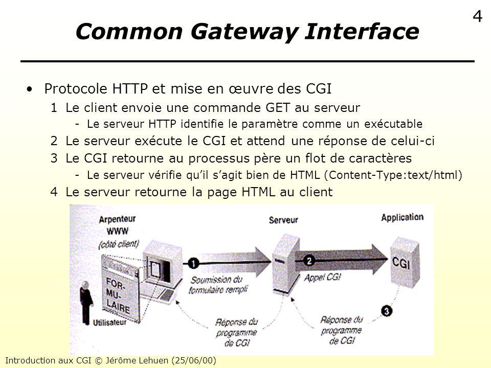 Introduction aux CGI © Jérôme Lehuen (25/06/00) 5 Common Gateway Interface La commande GET vers un CGI –Requête du client GET cgi-bin/hello.cgi –Code source en langage C du CGI hello.cgi –Réponse du serveur Hello, World .