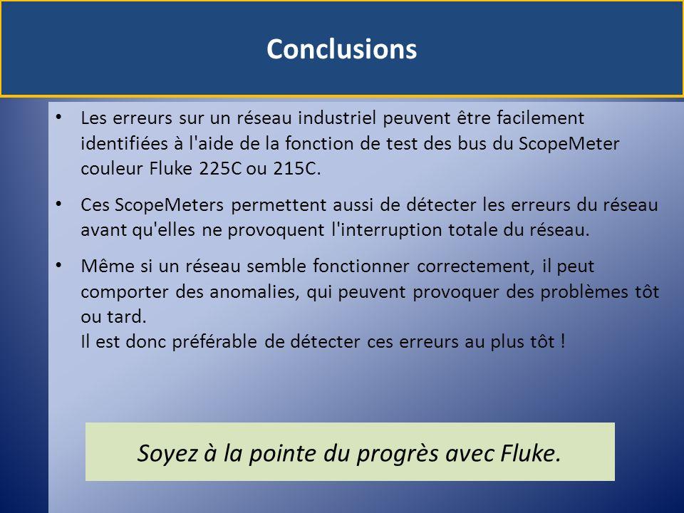 Conclusions Les erreurs sur un réseau industriel peuvent être facilement identifiées à l'aide de la fonction de test des bus du ScopeMeter couleur Flu