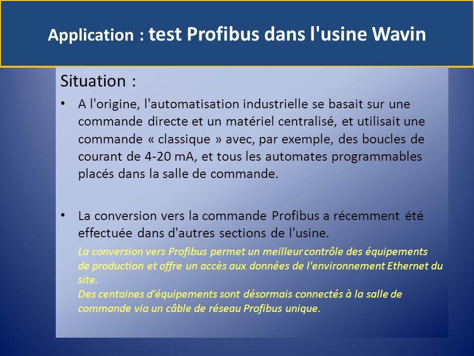 Application : test Profibus dans l'usine Wavin Situation : A l'origine, l'automatisation industrielle se basait sur une commande directe et un matérie