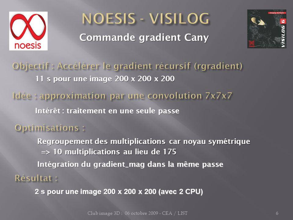 Club image 3D : 06 octobre 2009 - CEA / LIST6 Commande gradient Cany Commande gradient Cany 11 s pour une image 200 x 200 x 200 11 s pour une image 20