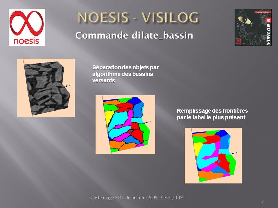 7 Club image 3D : 06 octobre 2009 - CEA / LIST Commande dilate_bassin Commande dilate_bassin Remplissage des frontières par le label le plus présent S
