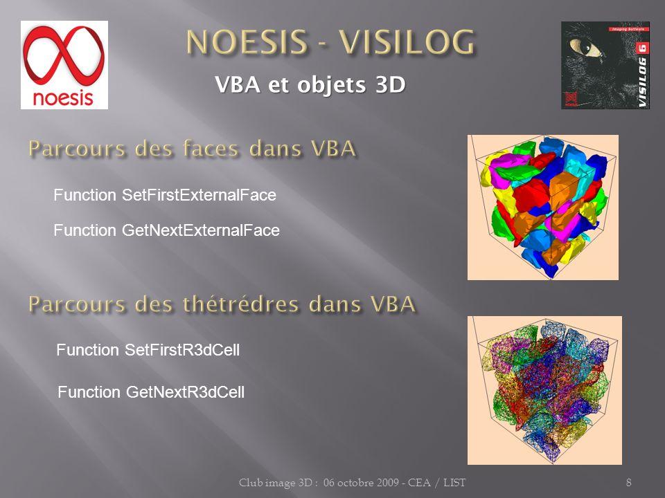 Club image 3D : 06 octobre 2009 - CEA / LIST8 VBA et objets 3D VBA et objets 3D Function SetFirstExternalFace Function SetFirstR3dCell Function GetNex