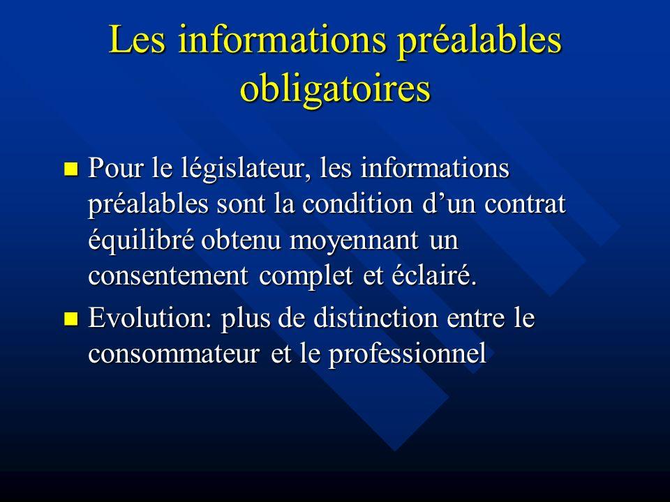 Les informations préalables obligatoires Pour le législateur, les informations préalables sont la condition dun contrat équilibré obtenu moyennant un