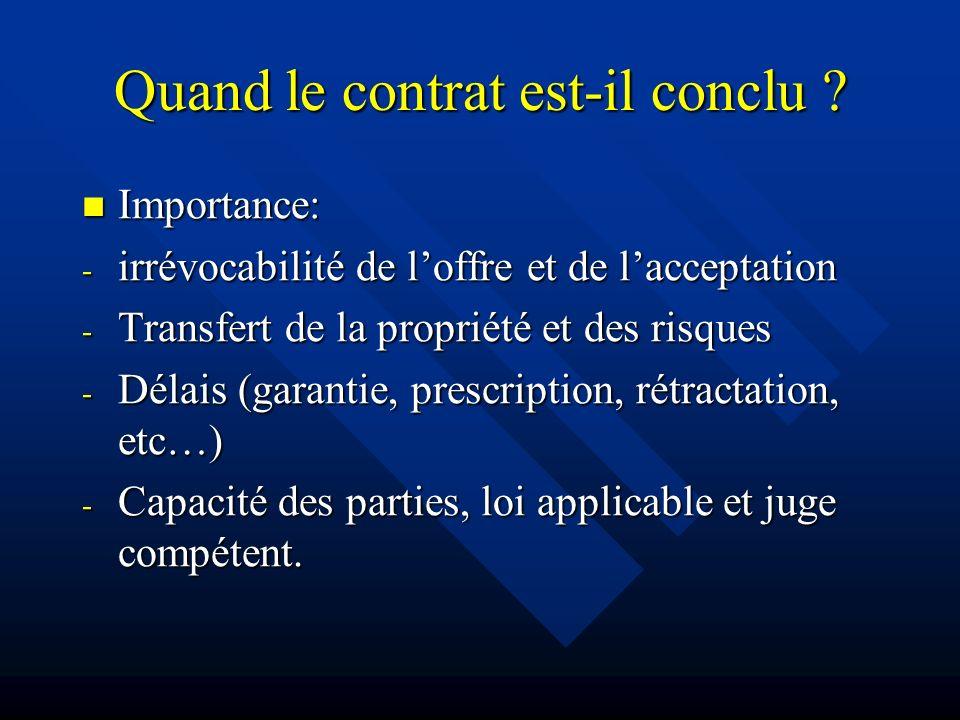 Quand le contrat est-il conclu ? Importance: Importance: - irrévocabilité de loffre et de lacceptation - Transfert de la propriété et des risques - Dé