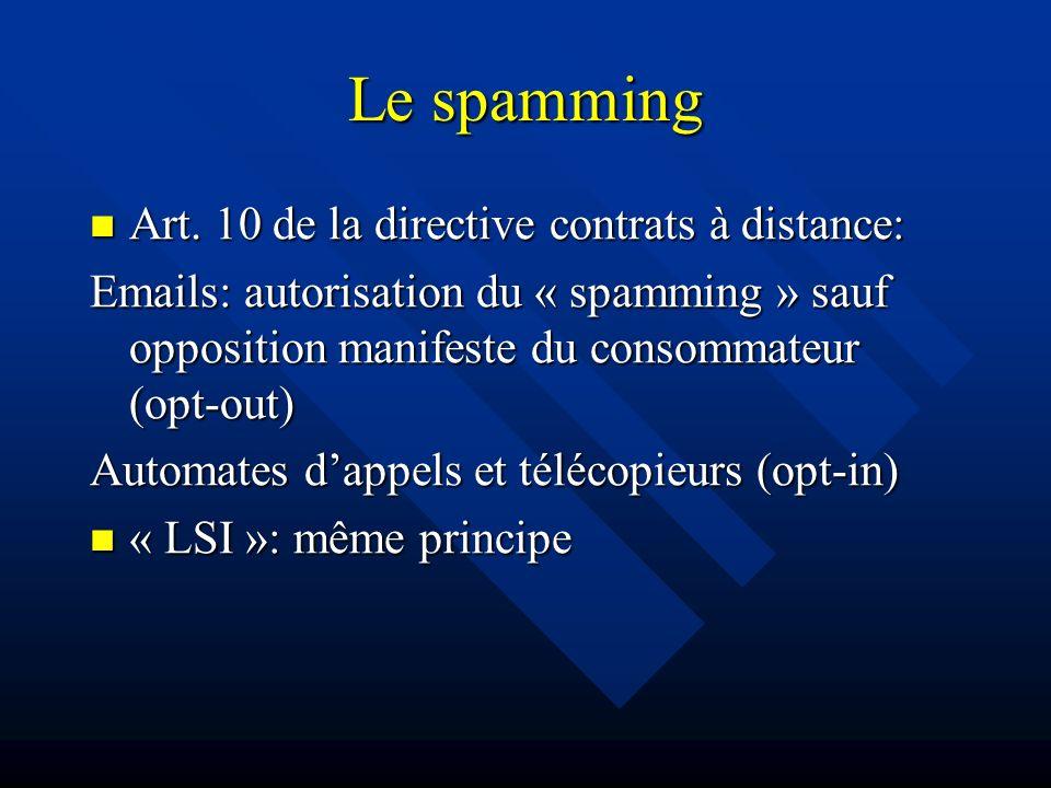 Art. 10 de la directive contrats à distance: Art. 10 de la directive contrats à distance: Emails: autorisation du « spamming » sauf opposition manifes