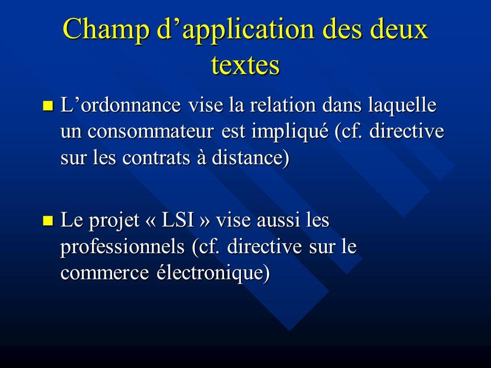 Champ dapplication des deux textes Lordonnance vise la relation dans laquelle un consommateur est impliqué (cf. directive sur les contrats à distance)