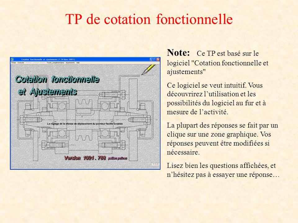 TP de cotation fonctionnelle Note: Ce TP est basé sur le logiciel Cotation fonctionnelle et ajustements Ce logiciel se veut intuitif.